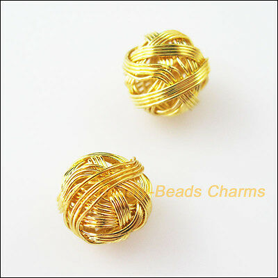 6Pcs Gold Plated Round Winding Hollow Spacer Beads Charms 12mm