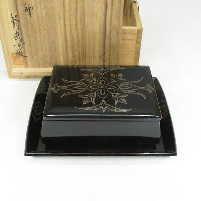 B131: Japanese SANUKI lacquer ware case with tray w/box