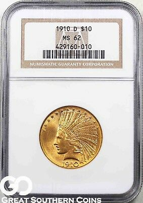 1910-D NGC Eagle, $10 Gold Indian NGC MS 62 ** Free Shipping!