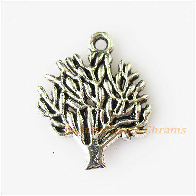 8Pcs Antiqued Silver Tone Tree Branch Leaf Charms Pendants 16x20mm