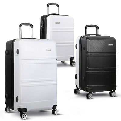 "NEW 3 Piece Durable Hard-shell Travel Luggage Set 20"" 24"" and 28"" Black & White"