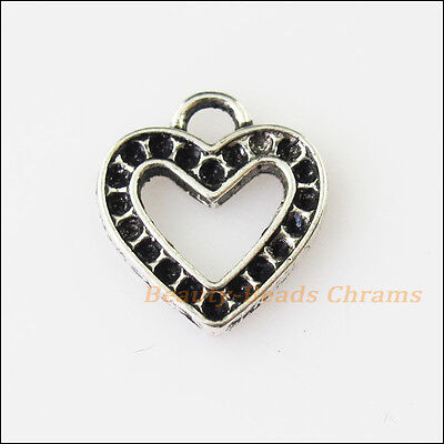 10Pcs Antiqued Silver Tone Heart Frame Charms Pendants 13x14mm