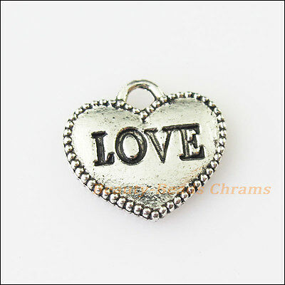 8Pcs Antiqued Silver Tone Heart Love Words Charms Pendants 12.5x13.5mm
