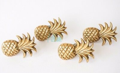 4 x Brass Pineapple Door Furniture Drawer Knob Vintage Antique Look Gold
