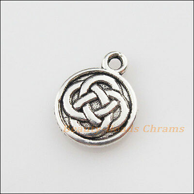 12Pcs Tibetan Silver Tone Round Chinese Knot Charms Pendants 11.5x15mm