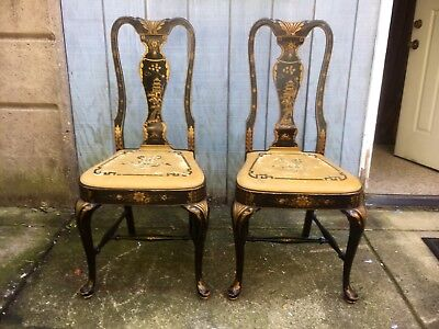 Distressed Asian Paint Decorated Chairs Mid Century Modern Vintage
