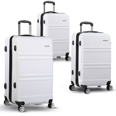 "NEW 3 Piece Durable Hard-shell Travel Wanderlite Luggage Set 20"" 24"" & 28"" White"