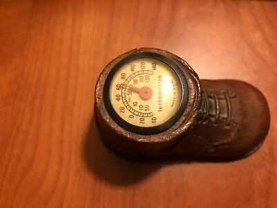"Vintage 1940""s Child's Shoe With Thermometer  Syroco Wood"