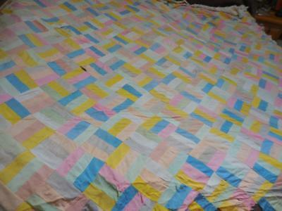 """Vintage hand stitched quilt top Repair, Cutter, re-purpose approx 87"""" X 98"""""""