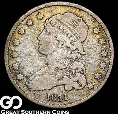1831 Capped Bust Quarter, Very Scarce Early Silver Type! ** Free Shipping!