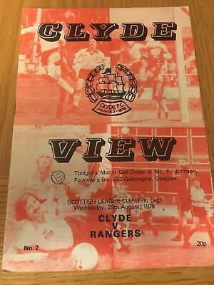 CLYDE v RANGERS 29.8.1979 LEAGUE CUP