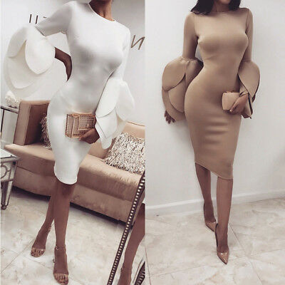 US Women's Long Petals Sleeve Bodycon Casual Party Evening Cocktail Mini Dress