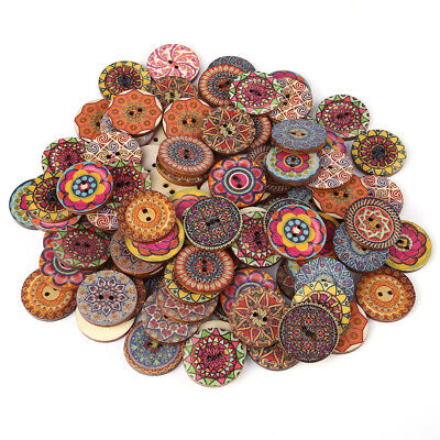 100Pcs Mixed Pattern Vintage Wood Buttons for DIY Sewing Craft Decorative 25mm
