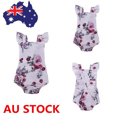 Newborn Infant Baby Girls Ruffled Sleeve Floral Jumpsuit Romper Outfits Clothes