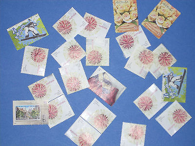 100 X $1 Unfranked, Unmarked Australian Stamps, (Fv $100) Off Paper, No Glue