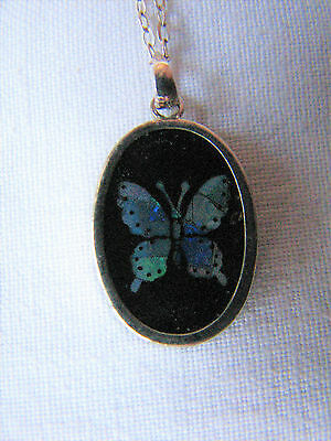 Vintage Small Silver Opal Butterfly Pendant & Chain 1970s