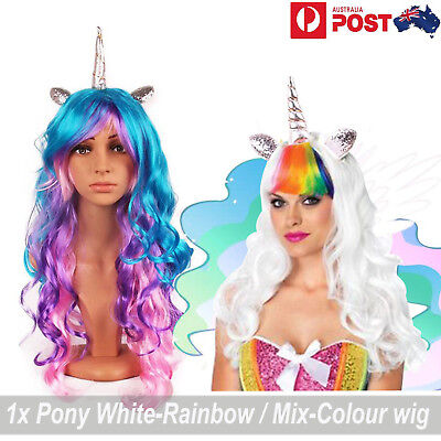 Unicorn Wig Pony Rainbow White Dash Cosplay Flutter shy Twilight Mix Colour Wigs