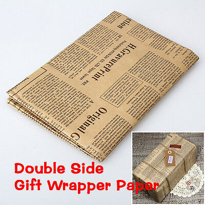 Wrapping Paper Wrap Gift Wrap Double Sided Christmas Kraft Paper Vintage PG