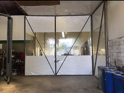 Half Clear And White Car Body Repair Workshop Divider Curtains 20Ft W X 13Ft H