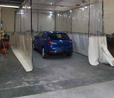 Half Clear And White Car Body Repair Workshop Divider Curtains 20Ft X 8Ft