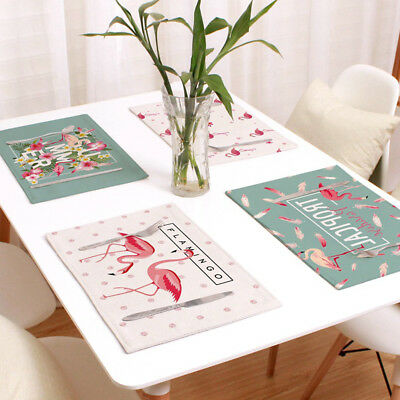 Flamingo Table Placemats Coaster Cover Mat Cutlery Holder Heat Resistant Eyeful