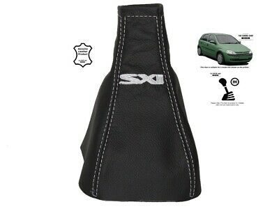 """Gear Stick Gaiter For Vauxhall Corsa C 2000-2006 Leather """"SXI"""" White Embroidery"""