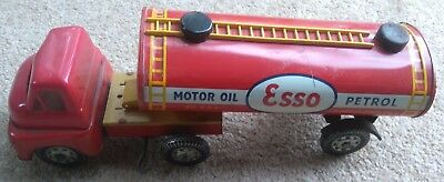 Brimtoy Tin Truck Esso Tanker articulated   Lorry Clockwork Drive good