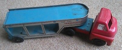 Brimtoy Tin Truck articulated Car Transporter with ramps  Lorry Friction  good