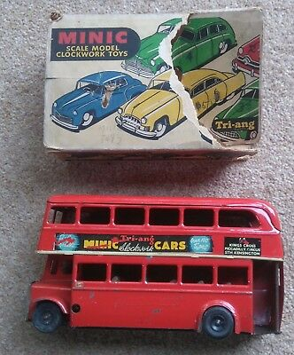 Tri-ang Minic  Double Deck London bus good clockwork part of box