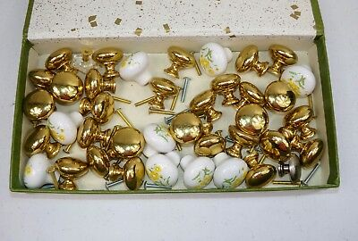 Vtg Architectural Salvage Drawer Door Knobs Lot Glass Brass Porecelain Screws