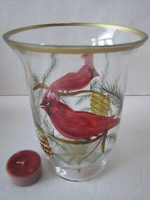 """NIB Celebrations Holiday Cardinal 6"""" Glass Painted Etched Hurricane Tealight"""