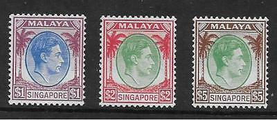 Singapore  Sg 13/15  Top Values Of Gvi Perf 14 Set   Unmounted (No Hinge) Mint
