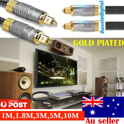 Ultra Premium Toslink Optical Fibre Cable Gold Plated 5.1 7.1Digital Audio 1-10M