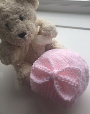 Beautiful Hand Knit Baby Girl Hat Pink With Large Bow 0-3 Months BN