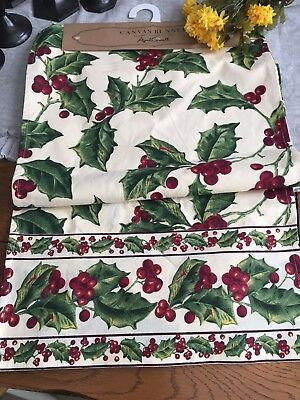 April Cornell New Table Runner Holly And Berries Christmas 17