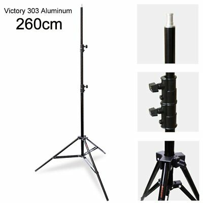VICTORY 260cm 9ft Heavy Duty Spring Cushioned 3 Section Large Light Stand