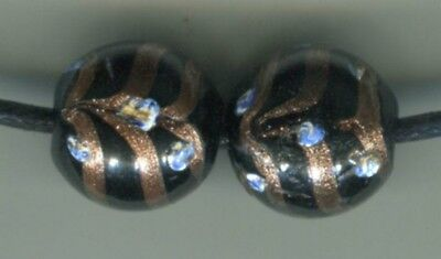 Antique Vintage Venetian glass rare black fancy aventurine feather eye beads