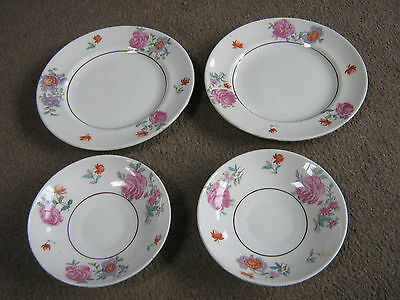 Crown Staffordshire Porcelain-Two Tea Plates And Saucers-Floral Design-Good Cond