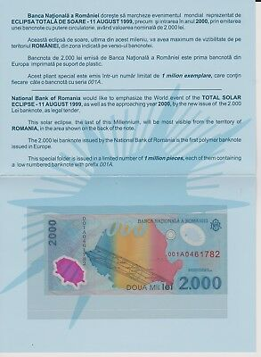 1999 Total SOLAR ECLIPSE Romania-2ooo LEI first polymer banknote in Europe