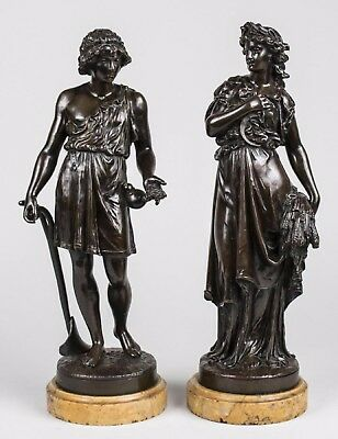 Beautiful 19C French Pair Bronze Statues by Denise Delavigne Sienna Marble Base