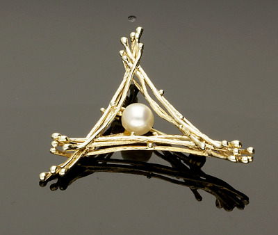 Vintage Cultured Pearl Brooch - 1972