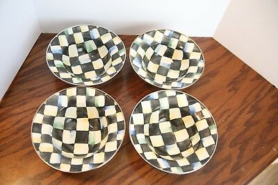 MacKenzie Childs Camp Courtly Check Enamel cereal BOWL SET of 4 four 1995