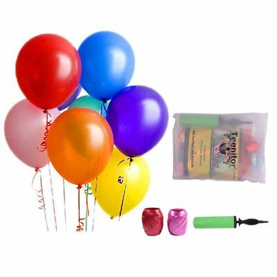 12 Inches Assorted Colors Party Latex Balloons w/ Air Pump and Ribbon (150 Pcs)