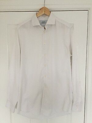 Charles Tyrwhitt Size 15.5 Collar White twill Tailored Fit Single Cuff