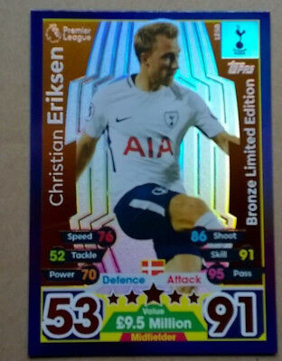 17 18 Match Attax Eriksen Bronze Limited Edition Card Topps Tottenham Le5B Spurs