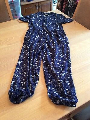 girls clothes 7 years Navy Viscose White Daisies Jumpsuit Playsuit