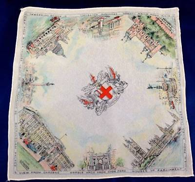 Vtg 1930s Printed Souvenir Handkerchief Hanky London Historic Places England