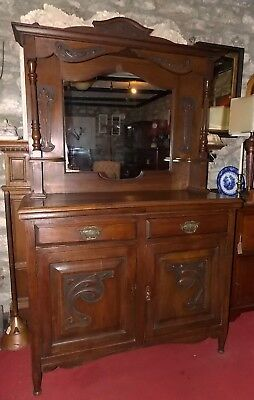 Antique carved oak Art Nouveau MIRROR BACK SIDEBOARD 4ft Victorian dresser