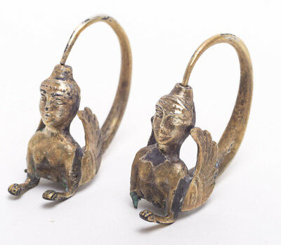 A Pair Of Ancient Near Eastern Gold Earrings c.6th Century BC.
