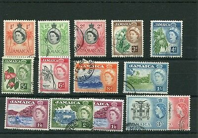 Jamaica. 14 -- Early Used Qe2 Stamps On Stockcard. Includes 3/-.5/-.